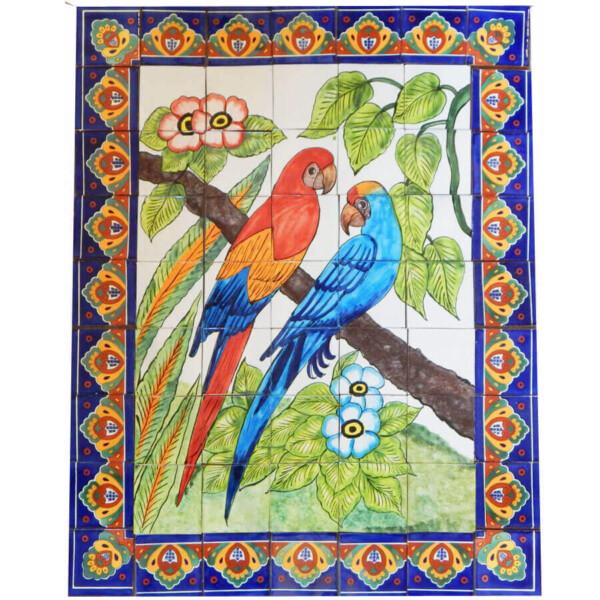 Mexican Talavera Mosaic Mural Tile Handmade Folk Art Parrots Backsplash