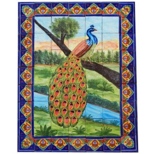 Mexican Talavera Mosaic Mural Tile Handmade Folk Art Peacock Backsplash