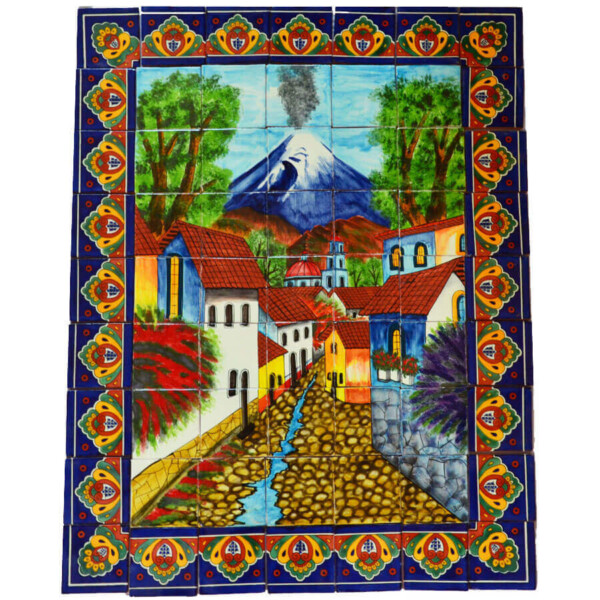 Mexican Talavera Mosaic Mural Tile Handmade Folk Art Volcano Backsplash