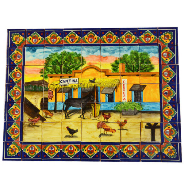 Mexican Talavera Mosaic Mural Tile Handmade Folk Art Cantina Bar Backsplash