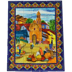 Mexican Talavera Mosaic Mural Tile Handmade Flowers Church Backsplash