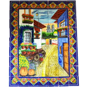 Mexican Talavera Mosaic Mural Tile Handmade Alley Flower Wagon Backsplash