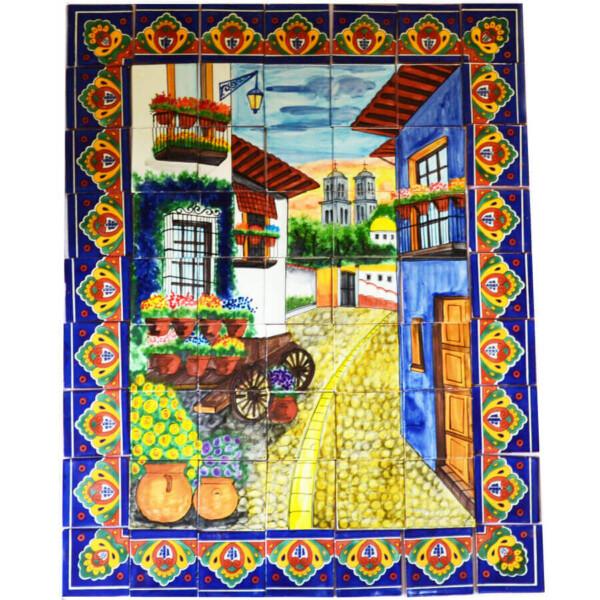 Mexican Talavera Mosaic Mural Tile Handmade Alley Flower Wagon Backsplash