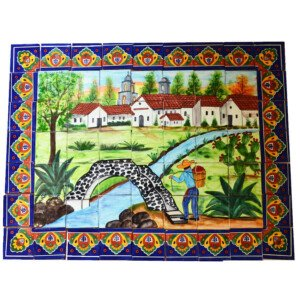Mexican Talavera Mosaic Mural Tile Handmade Folk Art Bridge Backsplash