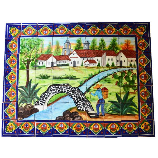 Mexican Talavera Mosaic Mural Tile Handmade Folk Art Bridge Backsplash