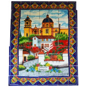 Mexican Talavera Mosaic Mural Tile Handmade Church La Valenciana Backsplash