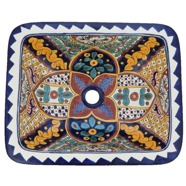 Ilusion Mexican Bathroom Ceramic Rectangle Talavera Drop In Sink