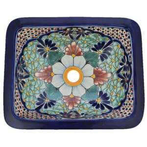 Portugues Mexican Bathroom Ceramic Rectangle Talavera Handmade Drop In Sink