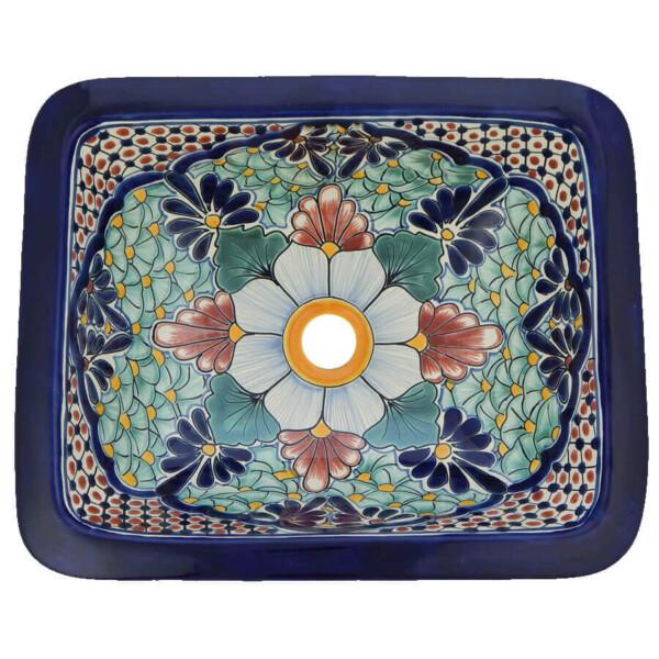 Portugues Mexican Bathroom Ceramic Rectangle Talavera Handmade Drop In Sink