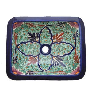 Jardin Mexican Bathroom Ceramic Rectangle Talavera Hand Painted Drop In Sink