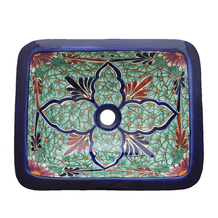 Jardin Mexican Bathroom Ceramic Rectangle Talavera Hand Painted Drop In Sink
