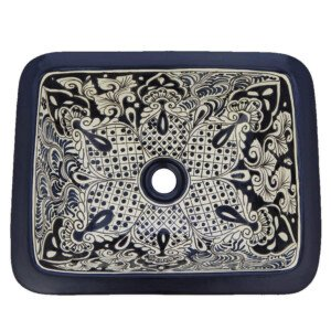San Jose Mexican Bathroom Ceramic Rectangle Talavera Hand Painted Drop In Sink