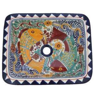 Cozumel Fish Mexican Bathroom Ceramic Rectangle Talavera Folk Art Drop In Sink