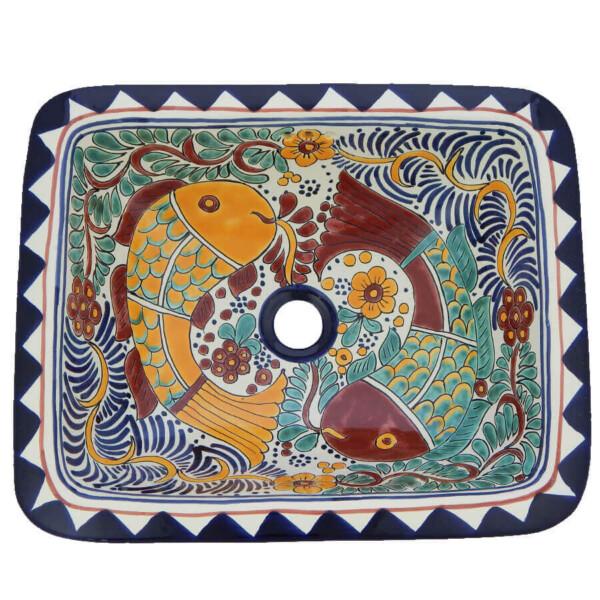 Cozumel Fish Mexican Bathroom Ceramic Rectangle Talavera Folk Art Drop In Sink