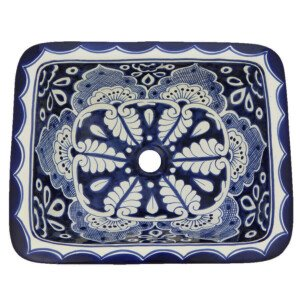 Mazatlan Mexican Bathroom Ceramic Rectangle Talavera Folk Art Handmade Drop In Sink