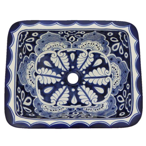 Mazatlan Mexican Bathroom Ceramic Rectangle Talavera Folk Art Handmade Drop In Sink