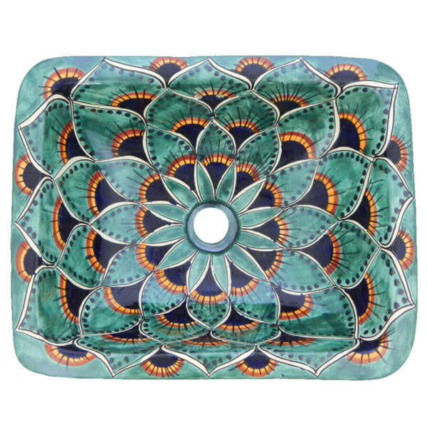 Pavo 2 Mexican Bathroom Ceramic Rectangle Talavera Handmade Drop In Sink
