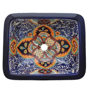 San Antonio Mexican Bathroom Ceramic Rectangle Talavera Handmade Drop In Sink