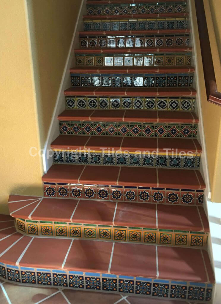 Genial Warming Touch And Colonial Style With Mexican Tiles For Your Stair Risers.