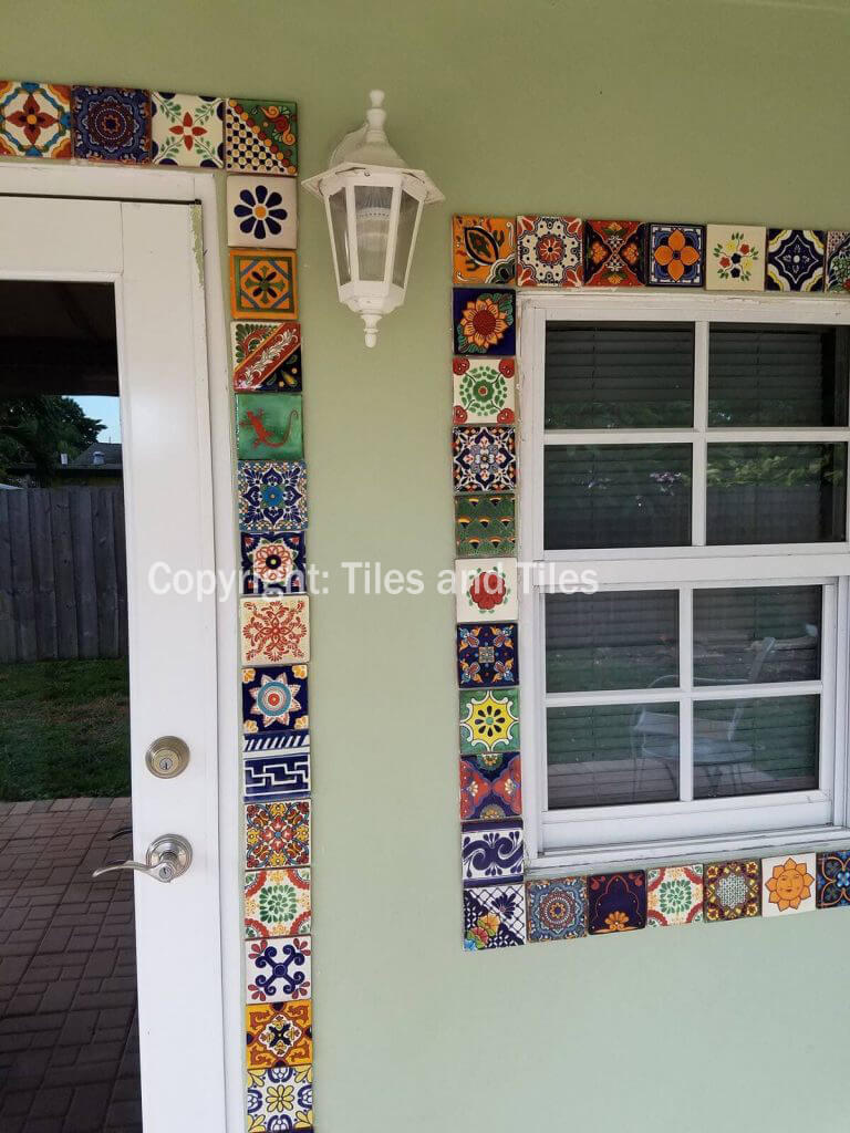 Mexican Style Window And Door Framed With Colorful