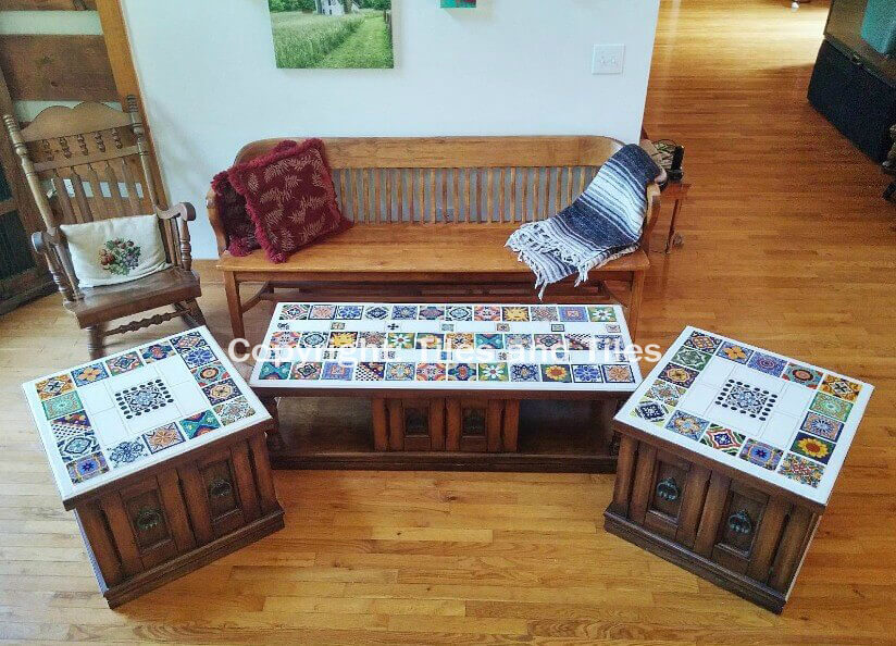 Beautiful set of coffee table tops with a Mexican Style. A ...