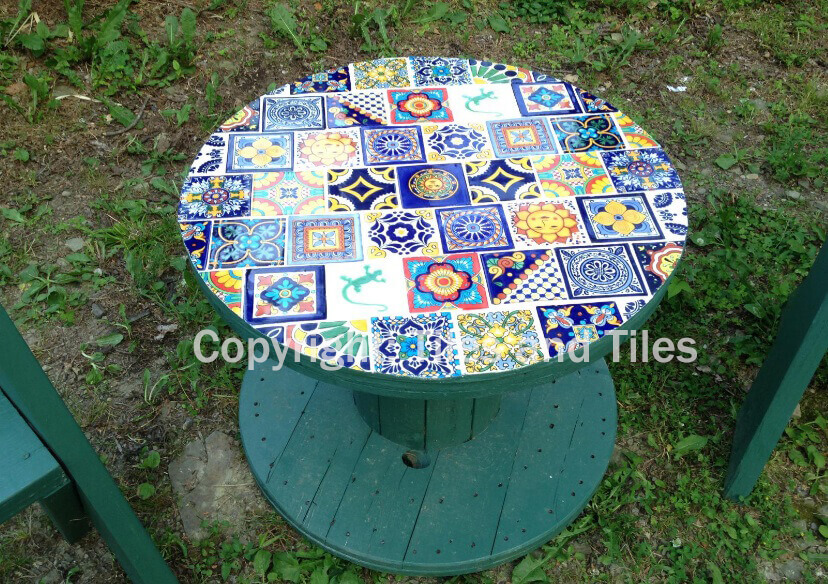 Beautiful Rustic Wooden Table Decorated With Our Mexican Talavera Tiles,  Suitable To Give A Unique Colorful Touch To Your Garden