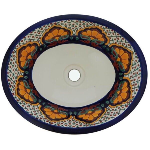 Amanecer Mexican Bathroom Ceramic Oval Talavera Sink