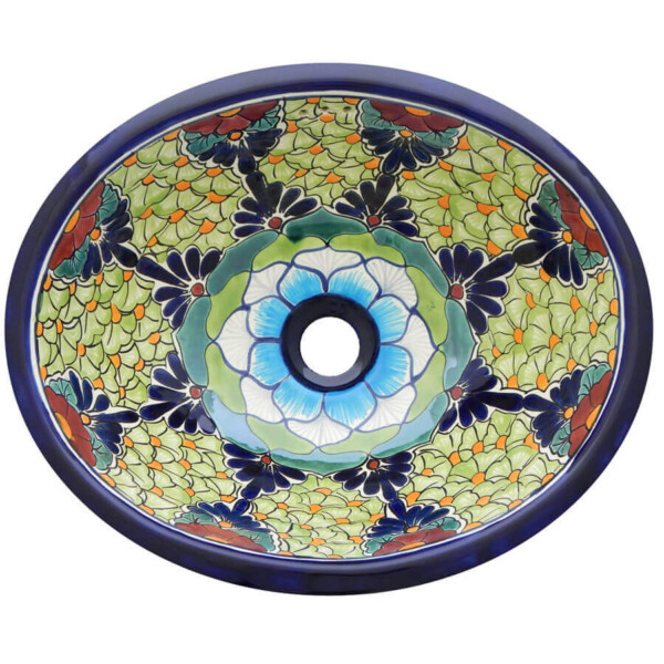 Baja Mexican Bathroom Ceramic Oval Talavera Sink