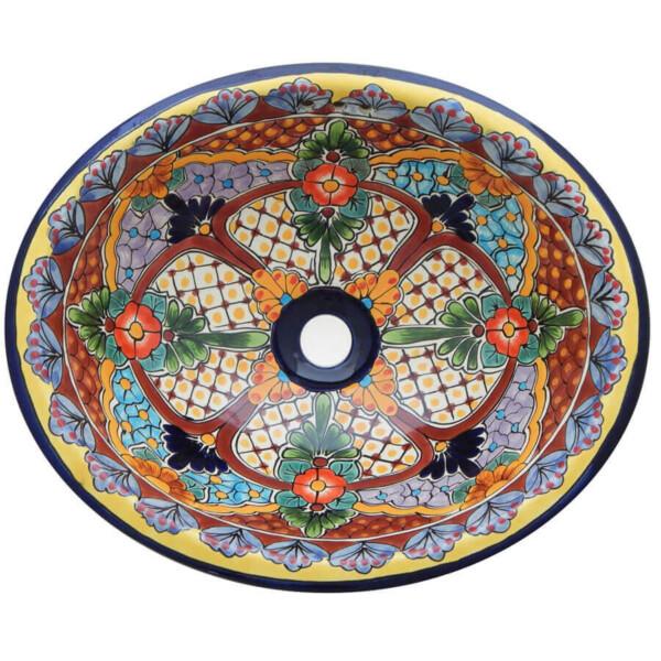 Camelia Bathroom Ceramic Oval Talavera Sink