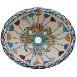 Cuernavaca Bathroom Ceramic Oval Talavera Sink