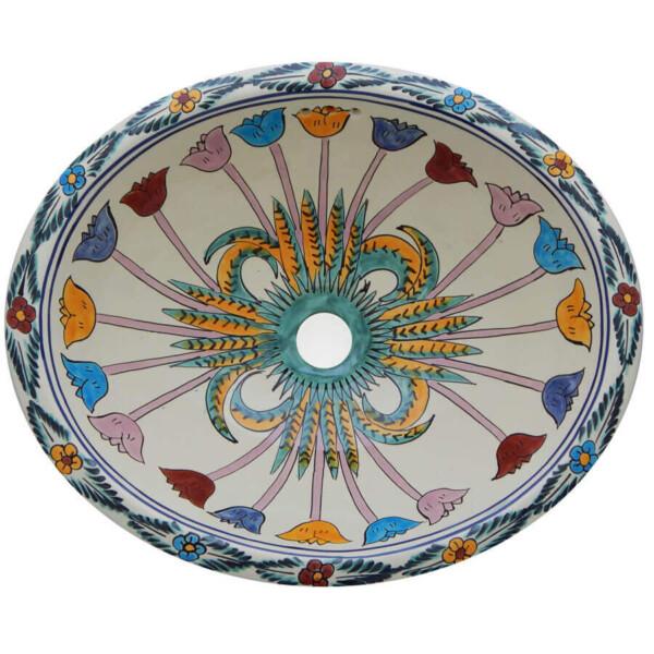 Cuernavaca Bathroom Ceramic Oval Talavera Sink