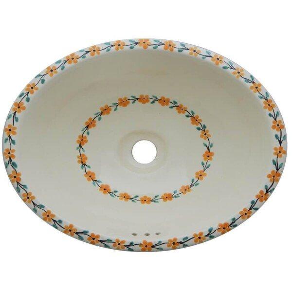 Daisies Bathroom Ceramic Oval Talavera Sink