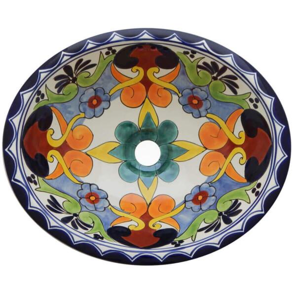 Dalia Bathroom Ceramic Oval Talavera Sink