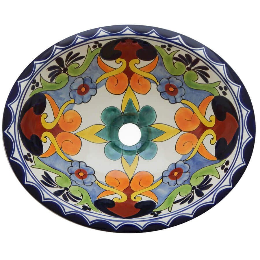 Dalia Bathroom Ceramic Oval Talavera Sink