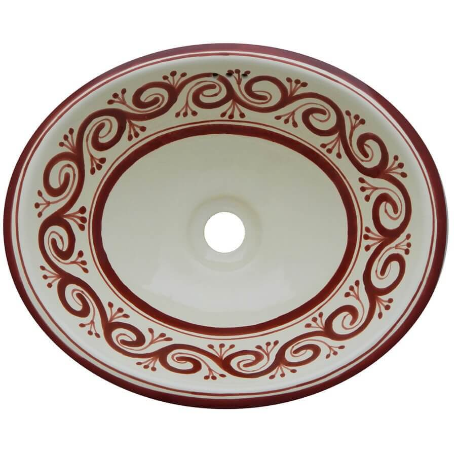 Grecas Terracota Bathroom Ceramic Oval Talavera Sink