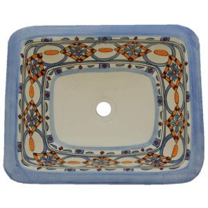 Marino Mexican Bathroom Ceramic Rectangle Talavera Sink