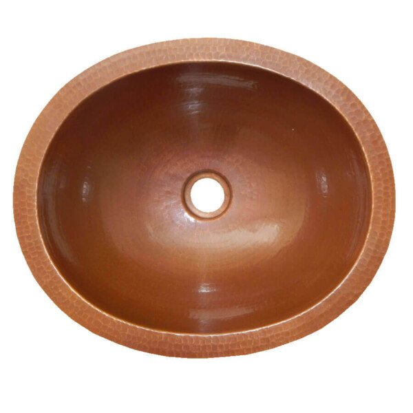 Brown Oval Mexican Copper Bathroom Sink - TilesAndTiles