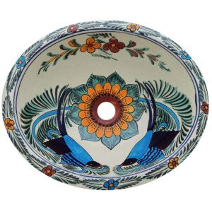 Pajaros Azules Bathroom Ceramic Oval Talavera Sink