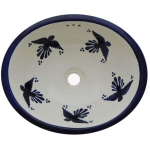 Palomas Bathroom Ceramic Oval Talavera Sink