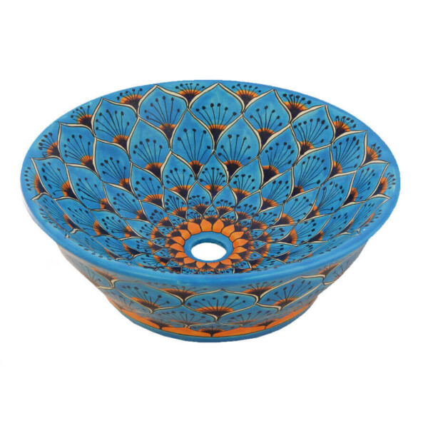 Pavo Turquoise Mexican Vessel Sink Bathroom Wash Basin