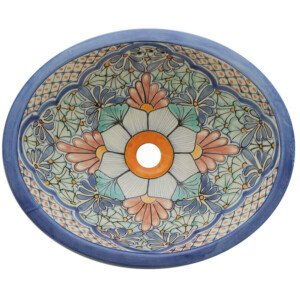 Portugues Light Blue Bathroom Ceramic Oval Talavera Sink