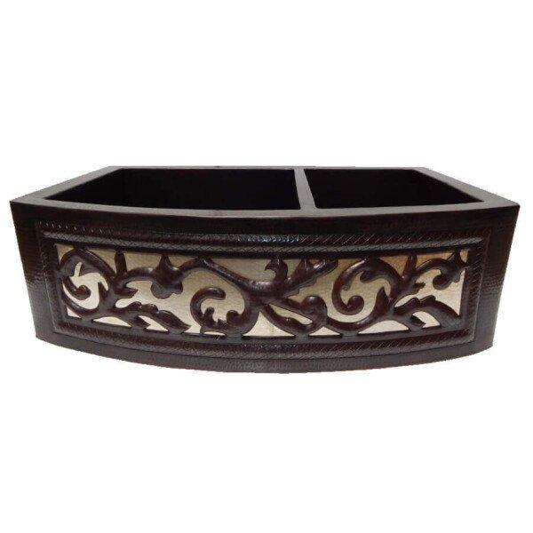 Apron Front Farmhouse Kitchen Mexican Copper Sink Leaf Design 60/40