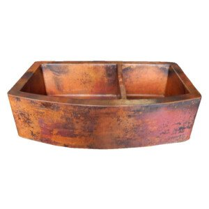 Rounded Apron-Front Farmhouse Kitchen Double Bowl Mexican Copper Sink 60/40