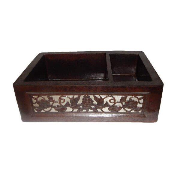 Apron Front Farmhouse Kitchen Mexican Copper Sink Dove Design 70/30