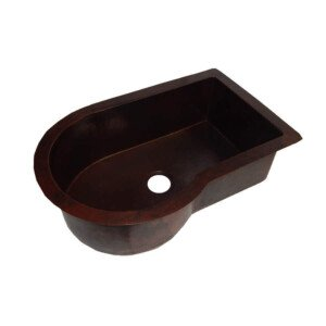 Copper Kitchen Mexican Sink Rectangular Curved Single Well Drop In