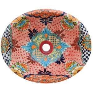 Alcala Mexican Bathroom Ceramic Oval Talavera Sink