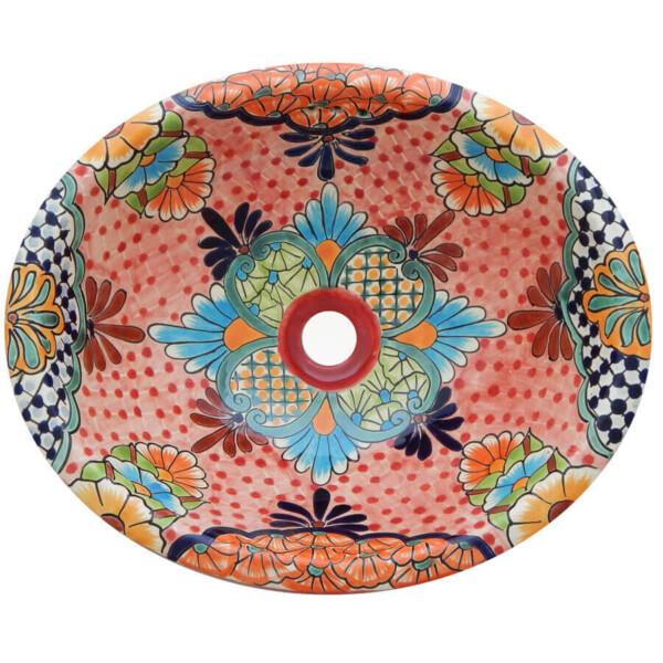 Alcala Mexican Bathroom Ceramic Oval Talavera Sink