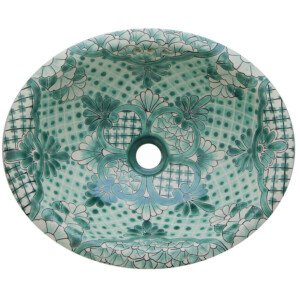 Alcala Green Mexican Bathroom Ceramic Oval Talavera Sink
