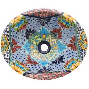 Alcala Light Blue Mexican Bathroom Ceramic Oval Talavera Sink