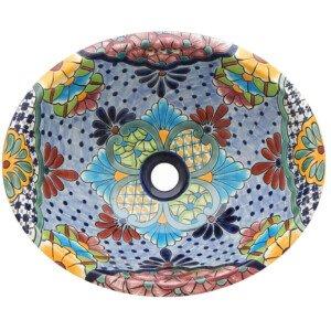 Alcala Light Blue Mexican Bathroom Ceramic Oval Talavera Sink